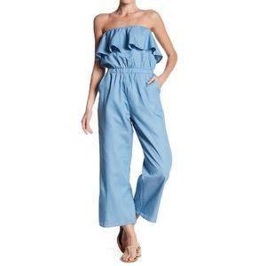 Lucca blue denim tube top ruffle jumpsuit